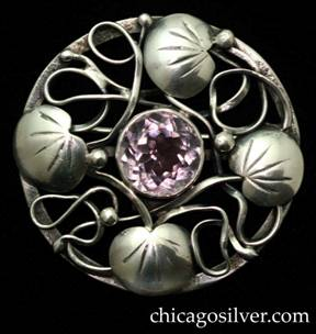 Jo Michels round pin with faceted amethyst in the style of Lillian Pines