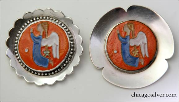 Jo Michels pin (left) and Madeline Turner pin (right) with similar ceramic inserts.