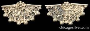 Lillian Pines brooch / pin and matching screw back earrings (3 pieces total), each in the form of a ladies' fan, with pierced details (on the brooch), corrugated surface, and wirework and beaded ornaments.  Earrings are unmarked.  Pieces have been overly cleaned, removing some of the original oxidation.