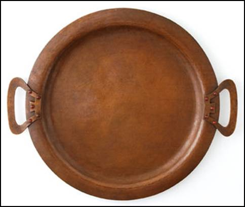Kalo copper tray with five bezel-set carnelian cabochons on each handle
