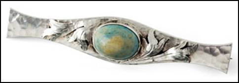 Art Silver Shop bar pin with stone