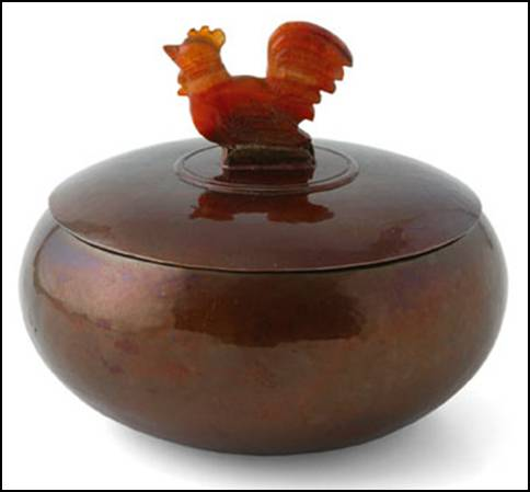 Cauman copper bowl with silver lid and carved agate finial