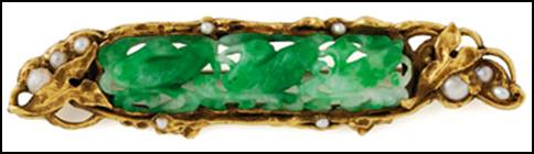 "Brooch, hand wrought in 14k green gold by Potter Mellen with carved jade and seed pearls.  Sculpted and carved gold surfaces form leaves and vines which secure all of the stones.  Heavy and beautifully executed.  2-1/2"" W"