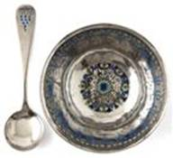 Knight enameled bowl and spoon