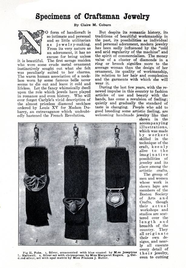 """Specimens of Craftsman Jewelry"" -- 1906, Good Housekeeping"