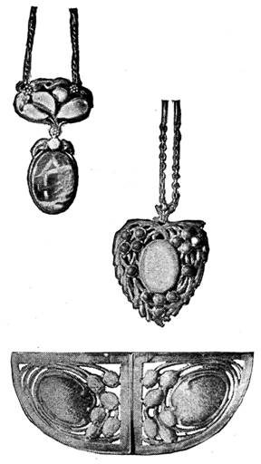 Pendants and buckle by Mrs. Josephine Hartwell Shaw, of the Boston Arts and Crafts Society.