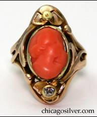 M. W. Hanck gold ring with coral cameo and small diamond