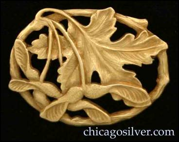 Carved gold maple leaf pin by Potter Studio