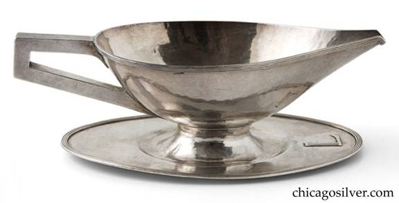 Robert R. Jarvie silver sauce bowl with attached undertray