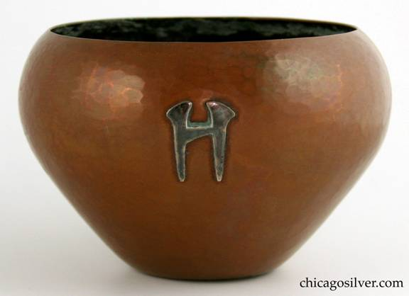 Robert R. Jarvie Copper bowl with silver H monogram
