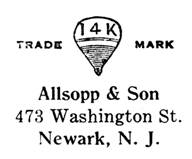 Allsopp & Son jewelry mark