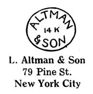 L. Altman & Son jewelry mark