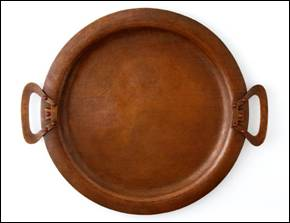 Unusual Kalo Shop copper tray with stones