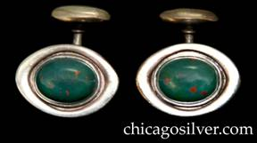 Kalo cufflinks, pair (2), oval, each with raised frame centering a deep green oval bezel-set bloodstone cabochon with red internal flecks.  Fixed bar and button back.