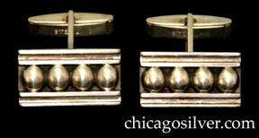 Kalo cufflinks, pair (2), rectangular, with 4 applied round silver beads between two horizontal bars, each with chased groove.