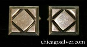 Kalo cufflinks, pair (2), square, with chased diamond at center and beveled edges.