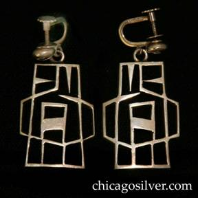 Kalo earrings, pair, screw backs, large cutout geometric design.