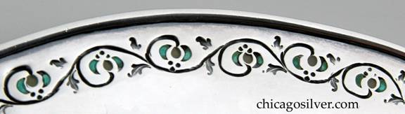 Detail from Mary C. Knight EGW plate showing chasing and enamel