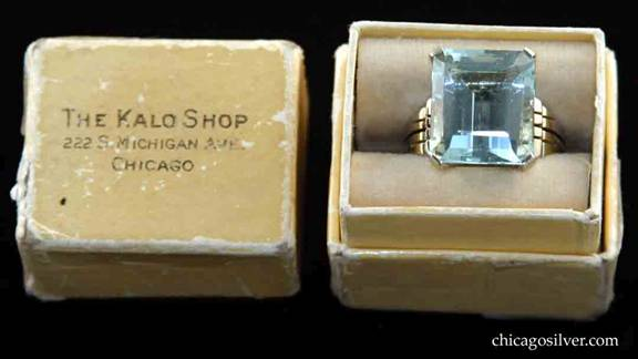 Kalo 14K gold ring with large faceted aquamarine stone in original box