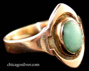 Kalo ring, gold with central green, oval cabochon