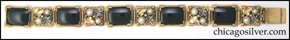Gilbert Oakes bracelet -- 14K gold with onyx, pearls and Montana sapphires shown full length
