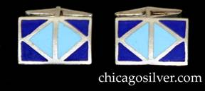 Kalo cufflinks, pair (2), rectangular, with two-color (dark blue and light blue) geometric, diamond-shaped enamel design on slightly convex surface, hinged links.