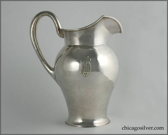 "Kalo pitcher, water, vase form with raised spout and applied wire at rim, high looping hollow handle, applied interlocking RHB monogram.  Hammered surface.  7-1/2"" H and 9-1/4"" W.  STERLING / HAND WROUGHT / AT / THE KALO SHOP / L362 / 3-1/2 PINTS"
