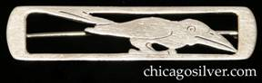 Potter Studio bar pin, handwrought in sterling silver with rectangular frame and pierced and chased design depicting crow with large beak and raised tail