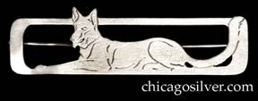 Potter Studio bar pin, handwrought in sterling silver with rectangular frame and pierced and chased design depicting sitting German Shepherd dog