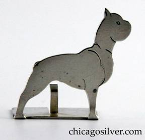 Potter Studio place card holder in the form of a boxer dog handwrought in sterling silver with chased details and a split rectangular base that has an upright prong for holding a place card