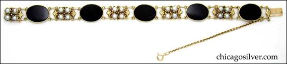 Margaret Rogers 18K gold bracelet with onyx and pearls
