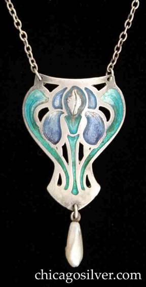Rokesley pendant, enameled, with pearl drop, on chain with barrel clasp.  Curving shield form with slightly concave top, and sides that bulge out at the top, then taper downward, and finally flare a bit at the bottom and then come to a point.  Elongated pearl drop descends from point.  Pendant has saw-pierced details and green and purple enamel in the form of an orchid or iris.
