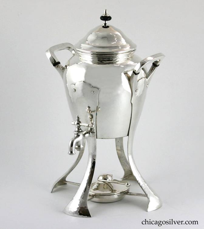 Kalo samovar / urn, massive, silver-plated copper, with four splayed strap legs, two rounded square hollow handles with ebony insulators, and spout with spigot.