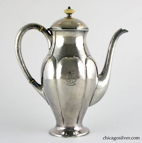 "Kalo coffee pot, tall, with looping hollow handle, ribbed design, ivory finial, self foot, engraved ""SL"" mono on side.  8-1/2"" H and 7-3/8"" W.  Marked:  STERLING / HAND WROUGHT / AT / THE KALO SHOP / P 771 S"