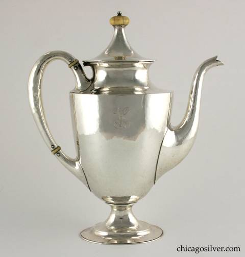 "Kalo coffee pot, colonial form with looping hollow handles and curving spout.  Ivory insulators and turned finial.  Engraved ""H"" mono.  9-1/2"" W and 11"" H.  Marked:  STERLING / HAND WROUGHT / AT / THE KALO SHOP / G 274 L / 2 1/2 PINTS"