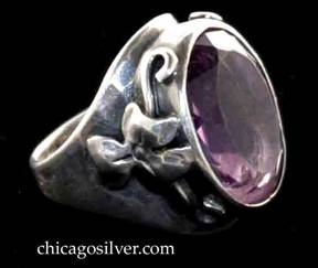 Art Silver Shop ring, with large amethyst surrounded by flowers on each side.  In blue SAS box with gold design on cover.