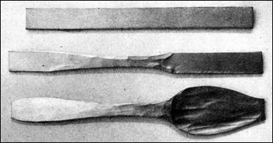 Initial steps of handmade spoon manufacture
