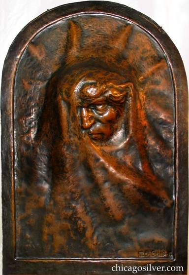 "Large (16"" W and 23"" H and 3"" deep) copper plaque entitled ""Conscience"" by Peer Smed."