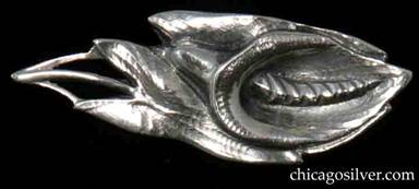 Peer Smed brooch / pin, in the shape of a lily with detailed stamen and leaves.  Solid and very heavy for its size.