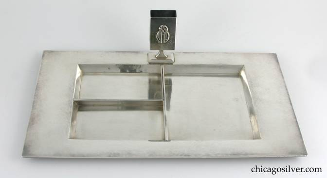 Kalo smokers' tray, rectangular with broad raised border and three interior partitions, raised match holder with applied JMS mono in interlocking style.