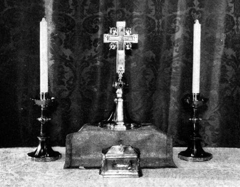 Ciborium in silver gilt by George E. Germer; altar cross and candlesticks in silver gilt designed by Ernest T. Jago, Goodhue Associates, executed by Arthur J. Stone for  George G. Booth Esq., Detroit