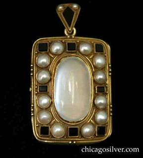 Locket, hand wrought in 14K gold with large central moonstone surrounded by 12 pearls alternating with 8 four-sided black onyx plaques. Applied bead and wire work.  Bale is decorated with diamond-shaped black onyx and two small seed pearls.  Excellent craftsmanship.  Heavy.