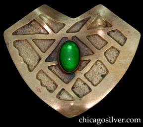Pin, brass, heart-shaped with geometric acid-etched design centering oval green stone