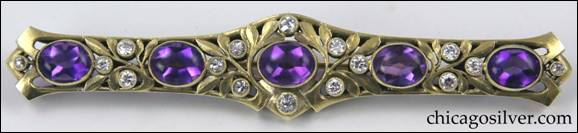 James Winn gold pin with amethysts and diamonds (front view)
