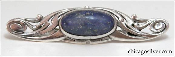 James Winn silver Nouveau-styled pin with lapis